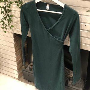 American Apparel Green Bodycon Wrap Dress